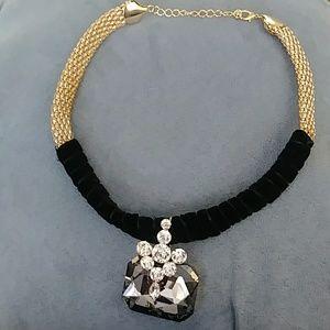 Statement large rhinestone slide necklace